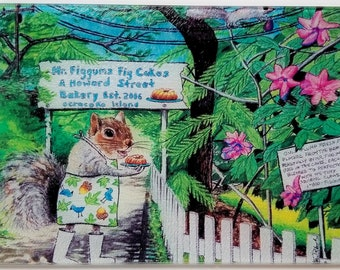 Mr Figgums Glass Cutting Board Serving Tray picnic Howard street squirrel Ocracoke