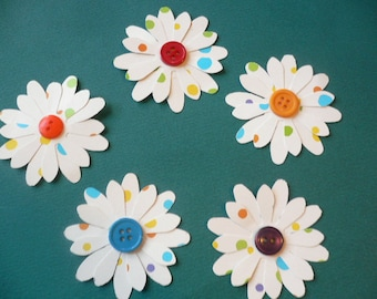 "Daisy Shape Flowers with Colorful Button Centers, Ten Double Layered Polka Dot Paper Flowers  2 1/4"" and 2"" size Flowers"