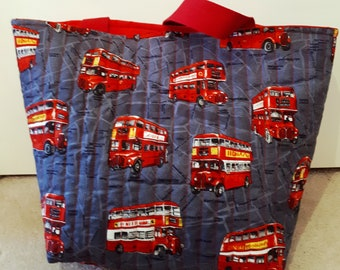 London BusThemed Quilted Hold All Tote Bag