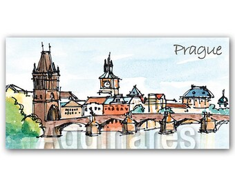 Fridge refrigerator magnet / Handmade travel souvenir / Prague Czech Republic