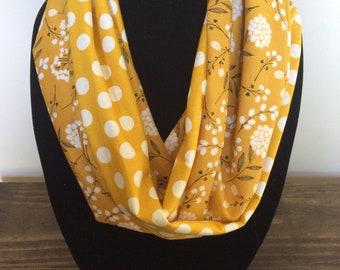 Mustard infinity scarf, mustard scarf, mixed pattern scarf