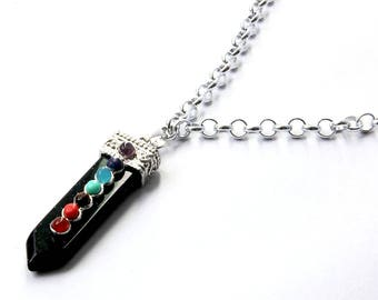 Necklace with black arrow and multi color stones