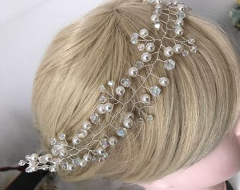 beautiful elegant handmade wedding bridal pearl hair piece  bridal hair accessory wedding headpiece