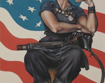 Rosie the Riveter (tribute to Norman Rockwell 1943) acrylic on canvas. 50 x 70