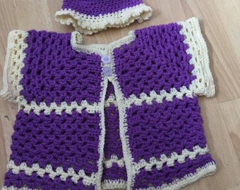 Purple two-piece set with hat