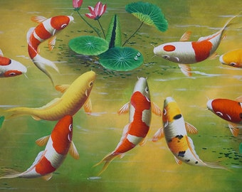 """22.4""""x46"""" Stretched Wall Art Oil Painting On Canvas - Fish Pond 2 , by JD Art, Ready To Hang"""
