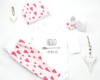 Baby Girl Coming Home Outfit, Newborn Girl Coming Home Outfit, Baby Girl, Girl clothes set, Newborn outfit girl, first outfit baby girl pink