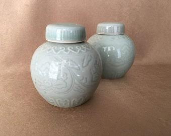 Ginger Jars, Celadon Color, Small Size, Chinoiserie home, Asian Design, Lotus Blossom, Lidded Ginger Jar, Candle Holders, Vintage Home Decor