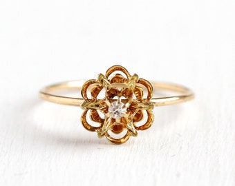 Flower Diamond Ring - Vintage Antique 14k Yellow Gold Starburst - Size 8 Edwardian Early 1900s Fine Stick Pin Conversion Floral Star Jewelry