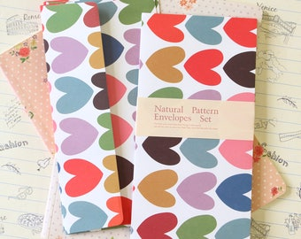 Big Hearts Natural Pattern Envelopes