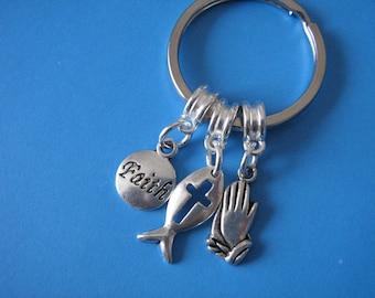 Religious Keyring Christian Fish Symbol Praying Hands Charm