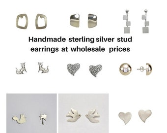 Wholesale earrings, silver earrings, sterling silver stud, silver findings, wholesale supply, women silver posts, handmade earrings