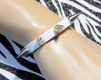White Spiked Bracelet, Faux Leather Cuff,  Glitter Spike Cuff, Pastel Goth