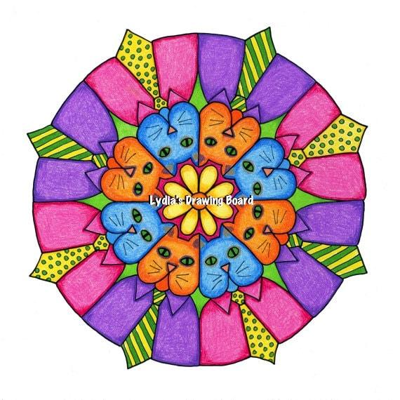 Cat, Cat Art, Cat Art Print, Cat Artwork, Cat Wall Art, Whimsical Art, Mandala Art, Mandala Wall Art, Mandala Decor, Kids Room Decor, Animal