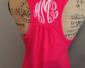 Monogrammed Ladies Gathered Racerback Tank Top