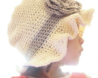 12 to 24m Crochet Sun Hat Baby Hat - Crochet Rose Flower Hat Cloche Hat Baby Girl Baby Flapper Girl Photo Prop