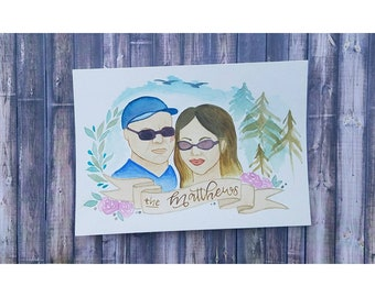 Couple's Wedding Gift Portait / Gift for newly weds / Watercolor Self Portrait