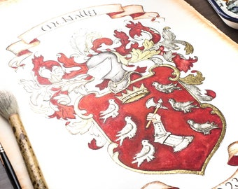 "Custom Family Crest / Custom Coat of Arms watercolor painting- Large 16"" x 20"" wedding gift or anniversary gift"
