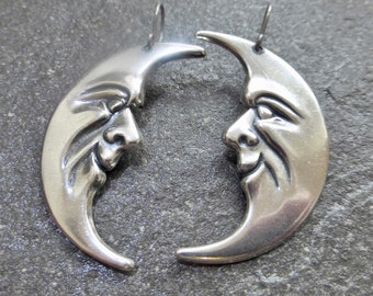 Large Antique Silver Crescent Moon Earrings With Hypoallergenic Titanium, Niobium OR 925 Sterling Silver Ear Wires - Man In The Moon