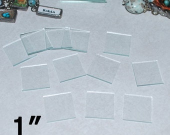 10 pack of 1 x 1 Inch Squares Clear Pendant GLASS - COLLAGE Altered Solder Art