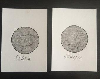 Zodiac Horoscope Sign // Minimalist Illustration Drawings - Libra, Scorpio, Pisces, Taurus, Virgo, Gemini