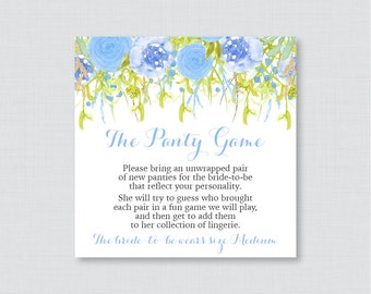 Blue Floral Panty Game - Printable Floral Lingerie Shower Panty Game Cards AND Sign - Lingerie Shower Game, Bachelorette Party Game 0013