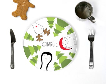 Christmas Dinnerware Santa Plate Personalized Kids Plate Christmas Gift Holiday Decor Custom Dinnerware Sets Melamine Plate and Cup