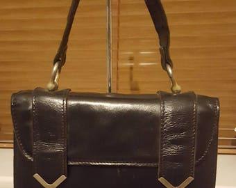 Vintage 60s Black Leather Top Handle Handbag modette scooter girl
