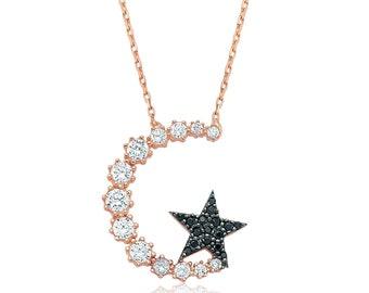 Silver Moon Star Pendant - IJ1-1462