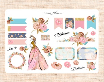 Blooming Deco (matte planner sticker, fits perfect in Erin Condren and Happy Planner)