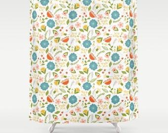 Vintage Floral Shower Curtain Girls Shower Curtain Kids Bathroom Shower Curtain Woodland Flowers Girls room decor girls Bathroom Blue Orange