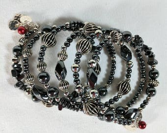 Silver and Hemotite Bracelet, Memory Wire Cuff, Bling, Touch of Red, Wide Bracelet, Dressy Bracelet,