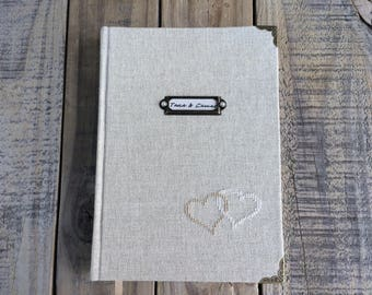 Personalized guest book Rustic wedding guest book Custom guestbook writing journal Hardcover notebook Handbound journal