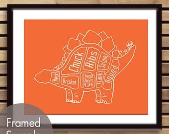 Stegosaurus, Dinosaur Butcher Diagram Series - Art Print (Featured in Crimson Orange) (Buy 3 and get One Free)