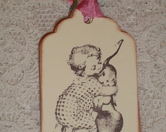 Easter Gift Tags - Sweet Vintage Child and Bunny Hugs Gift Tags - Set of Six - Childrens gift tag