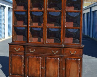 Mahogany Breakfront with Bubble Glass Doors - 2 Pieces