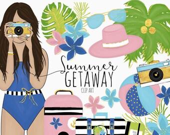 Summer Getaway Clip Art | Digital Art Work