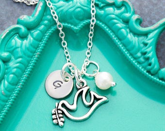 Peace Jewelry Dove Bird Necklace Dove Jewelry Baptism Gift • Communion Religious Jewelry Peace Necklace • Initial Charm Handstamped Gift