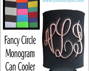 Monogrammed can cozie, Fancy Fun Circle Font, beverage insulator,  personalized, Solid Color