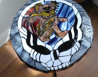 Grateful Dead Mosaic Table-Steal Your Face Table-Grateful Dead Art