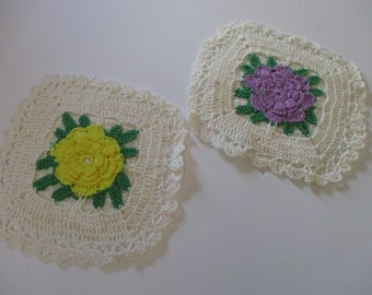 Vintage Crochet Roses Pot Holders-Set of 2-Yellow and Purple
