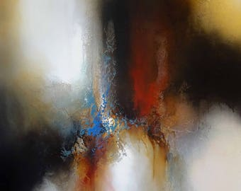 "Large Canvas Abstract Painting By Simon Kenny "" The Path Divided "" Mixed Media"