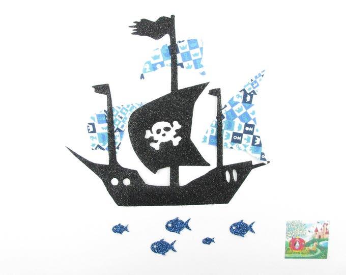 Applied fusible boat pirate fabric liberty Adelajda blue, fusing liberty patch iron iron on liberty fabrics