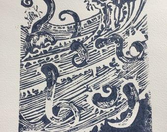 Tsunami Lino Print
