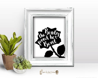 Beauty and The Beast Rose Wall Print Home Decor Art Printable Digital File Instant Download Quote Wedding Princess Disney Bridal Shower