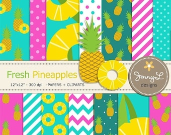 50% OFF Pineapples Digital Papers and Cliparts, Pineapple Slice, Aloha Hawaiian Theme Birthday Party, Summer Fruit