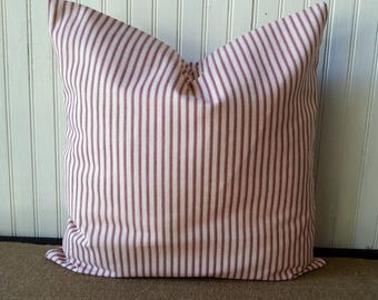 Red Pillows - Red Pillow Cover - Primitive Pillows - Pillows Red - Pillows Striped - Red Stripe Pillow - Red and White Pillow - Ticking