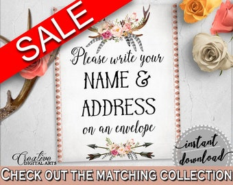 Write Your Name And Address Sign in Antlers Flowers Bohemian Bridal Shower Gray and Pink Theme, lettermate, party planning, prints - MVR4R