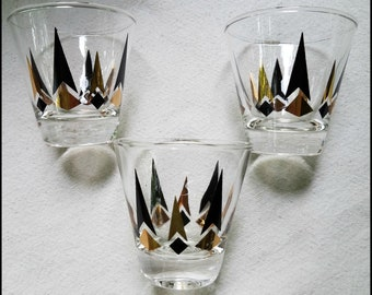Three Vintage Mid Century Atomic Black And Gold Lowball  Cocktail Glasses