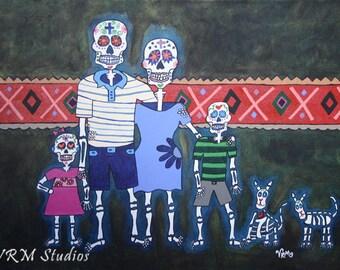 La Familia - mexican folk art print - dia de los muertos - day of the dead - calaveras - catrina - mexican wall art - fine art print